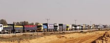 Part of daily supply convoy from Israel to Gaza